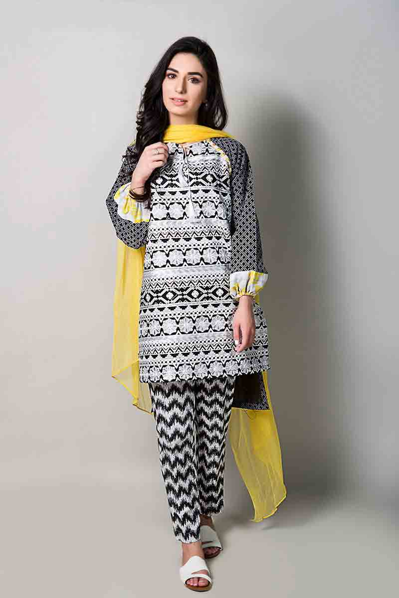 new black and white short shirt with yellow dupatta latest maria b fancy party wear eid dresses 2017 with price for girls
