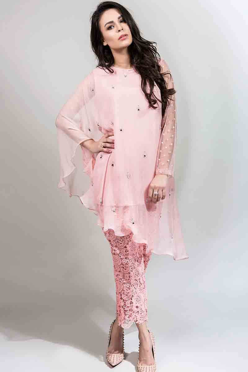 latest light pink fancy short shirt with matching trousers latest maria b fancy party wear eid dresses 2017 with price for girls