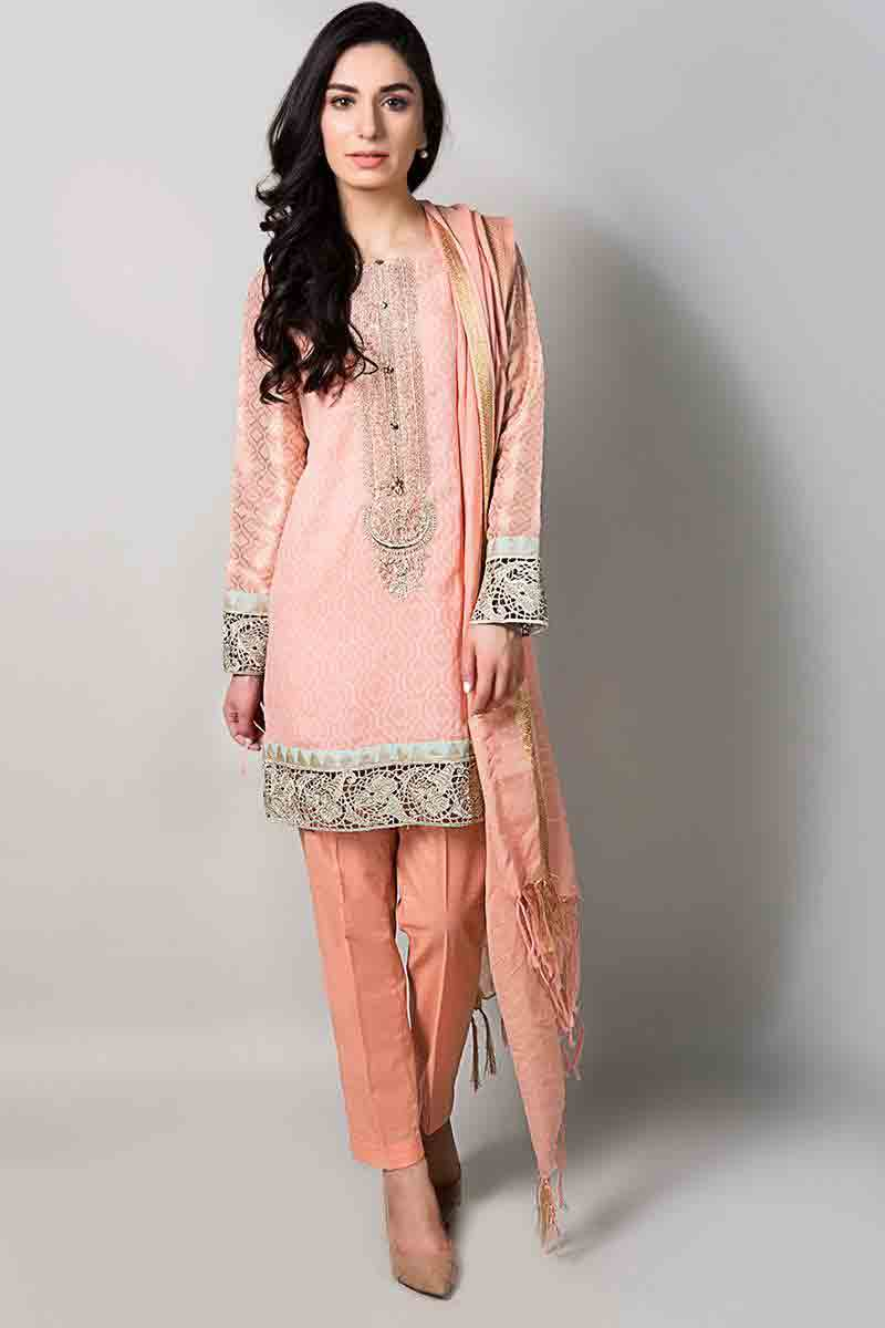fancy peach short shirt with matching dupatta and trousers latest maria b fancy party wear eid dresses 2017 with price for girls