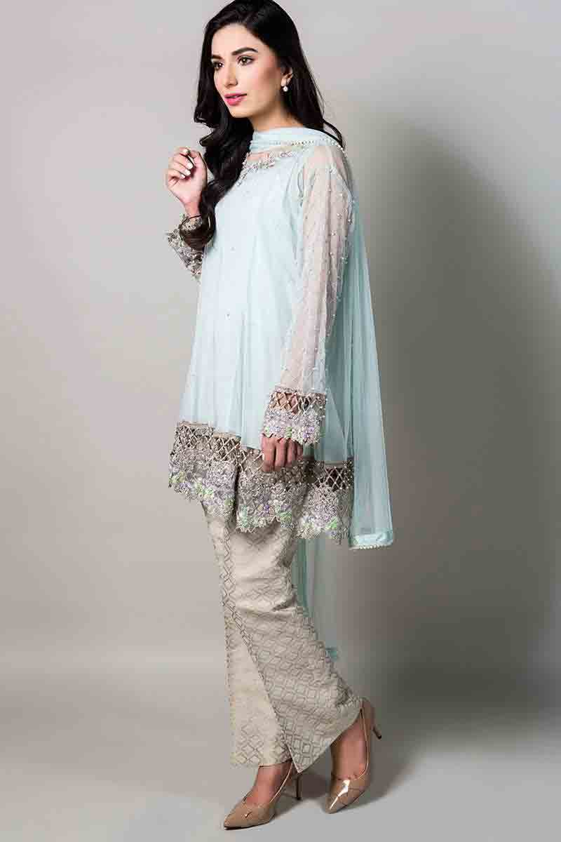 sky blue net kurti with matching dupatta and pants latest maria b fancy party wear eid dresses 2017 with price for girls