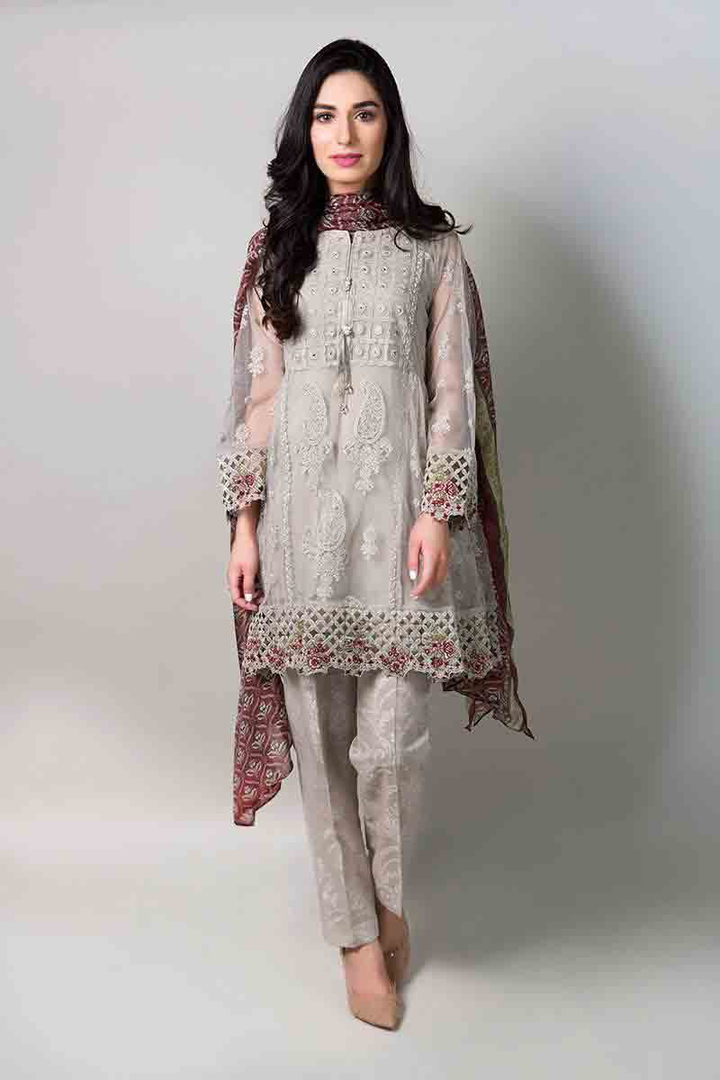 Gray net short shirt with matching dupatta and pants latest maria b fancy party wear eid dresses 2017 with price for girls