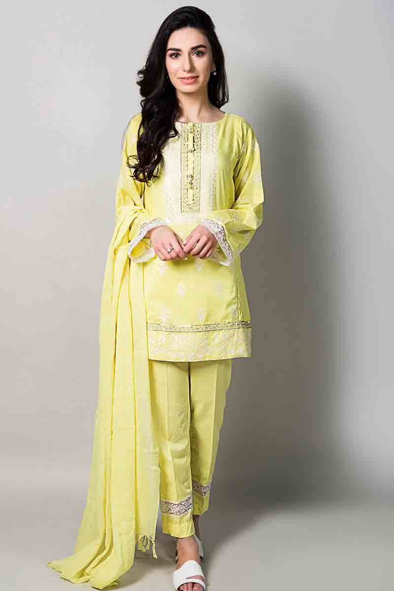 yellow short shirt with matching dupatta and pants latest maria b fancy party wear eid dresses 2017 with price for girls