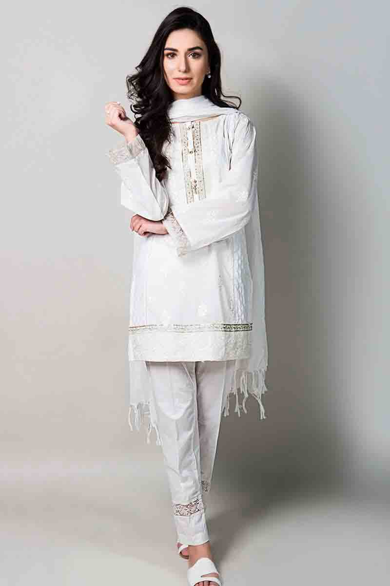 white short shirt with matching dupatta and pants latest maria b fancy party wear eid dresses 2017 with price for girls