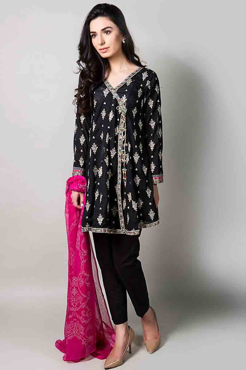 black front open shirt with shocking pink dupatta and black pants latest maria b fancy party wear eid dresses 2017 with price for girls