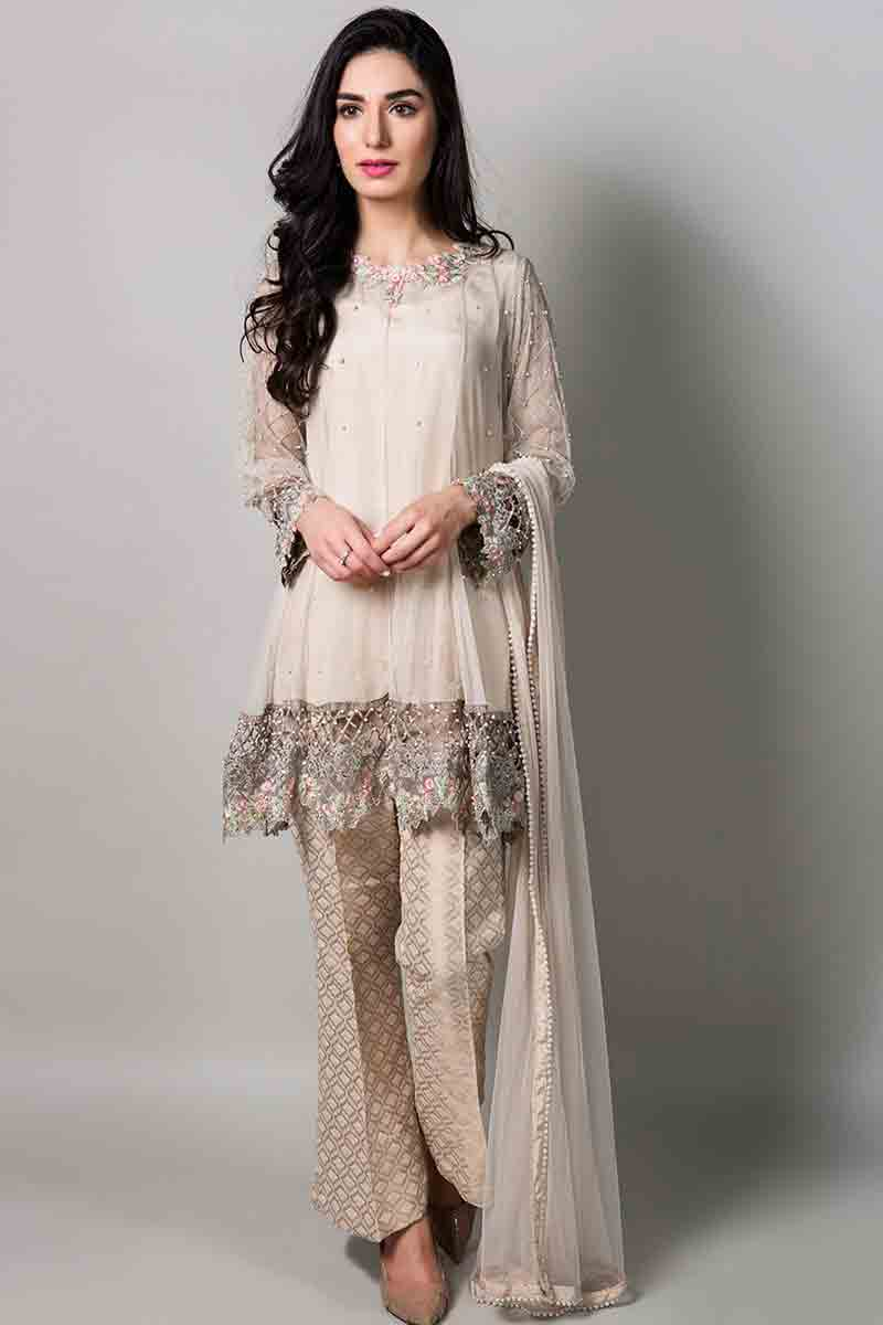 beautiful fancy short shirt with matching dupatta and pants latest maria b fancy party wear eid dresses 2017 with price for girls