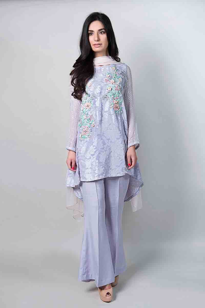 latest light blue short shirt with matching dupatta and trousers latest maria b fancy party wear eid dresses 2017 with price for girls