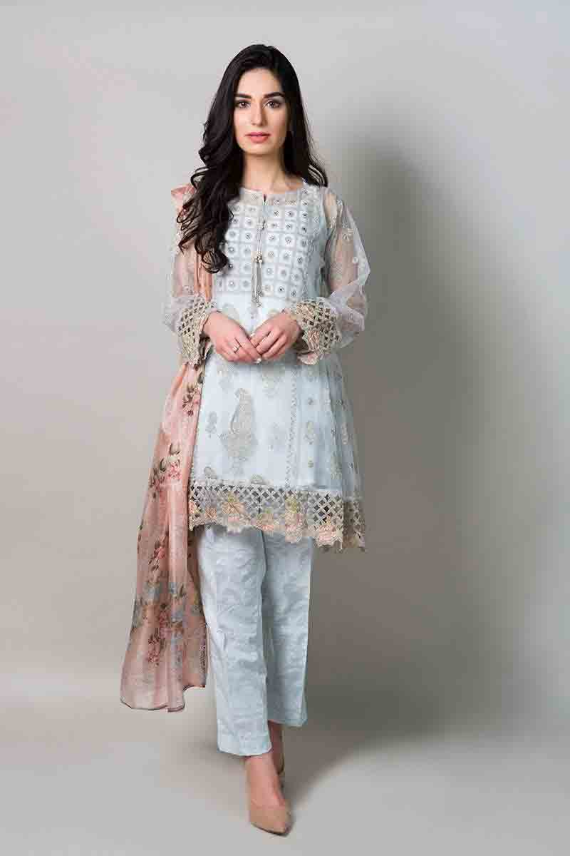 new sky blue short shirt with matching dupatta and trousers latest maria b fancy party wear eid dresses 2017 with price for girls