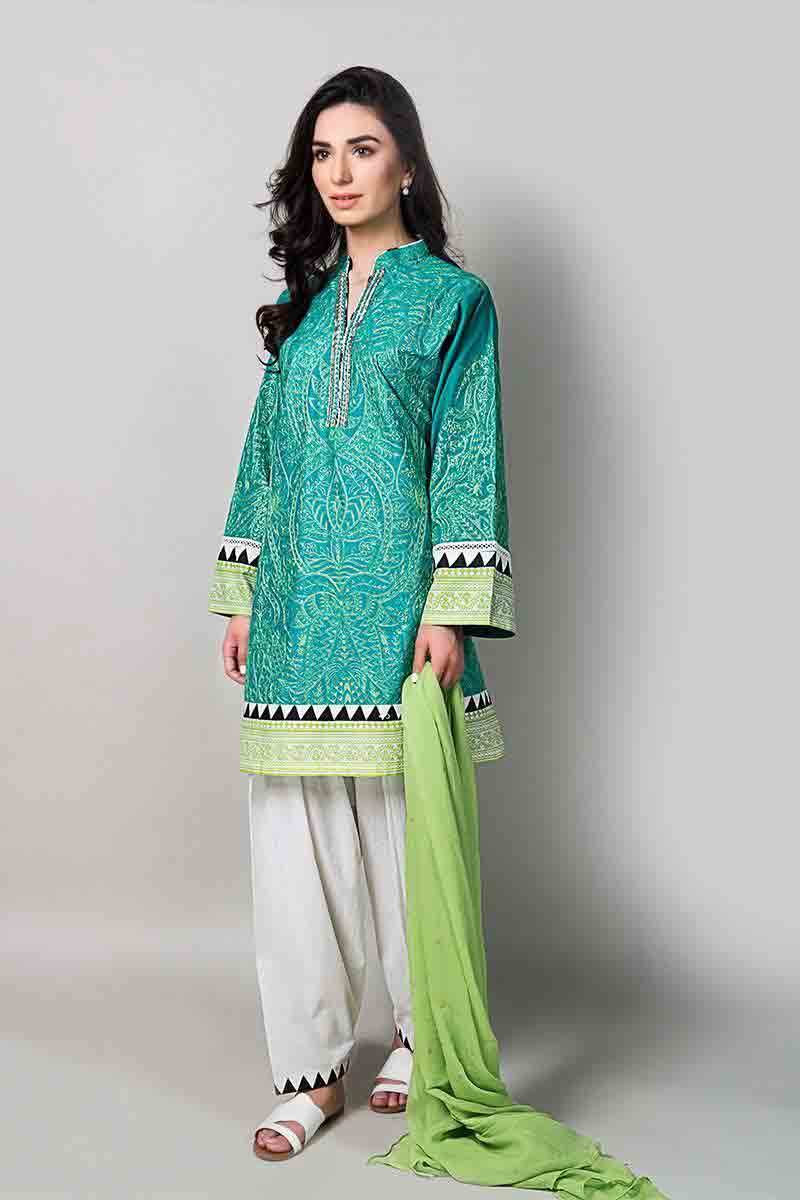 latest sea green short shirt with green dupatta and white shalwar latest maria b fancy party wear eid dresses 2017 with price for girls