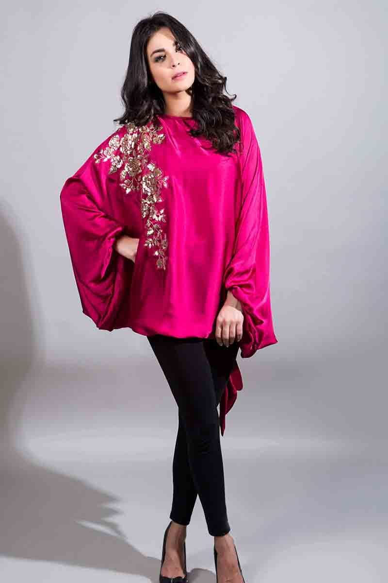 new party wear shocking pink cape with embroidery and black pants latest maria b fancy party wear eid dresses 2017 with price for girls