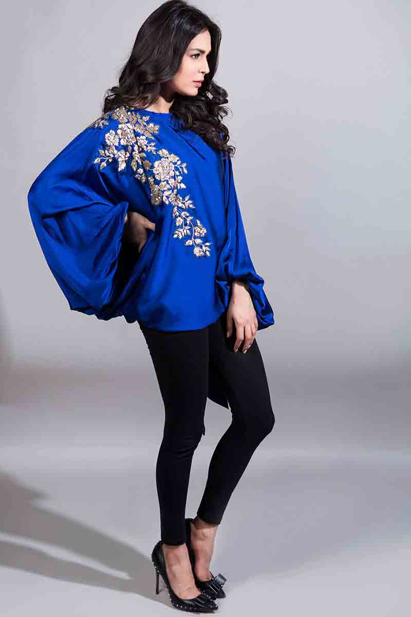 royal blue embroidered cape with black pants latest maria b fancy party wear eid dresses 2017 with price for girls