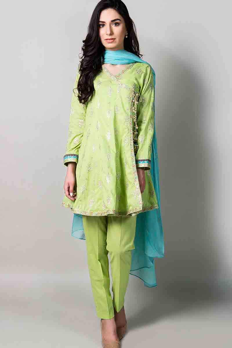 latest yellow short frock with sky blue dupatta and matching pants latest maria b fancy party wear eid dresses 2017 with price for girls