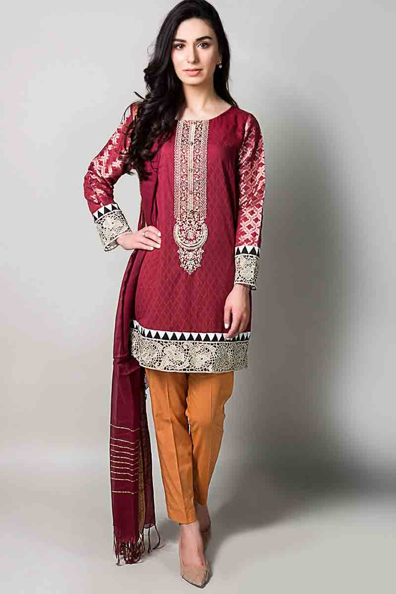 best maroon embroidered short shirt with matching dupatta and orange pants latest maria b fancy party wear eid dresses 2017 with price for girls