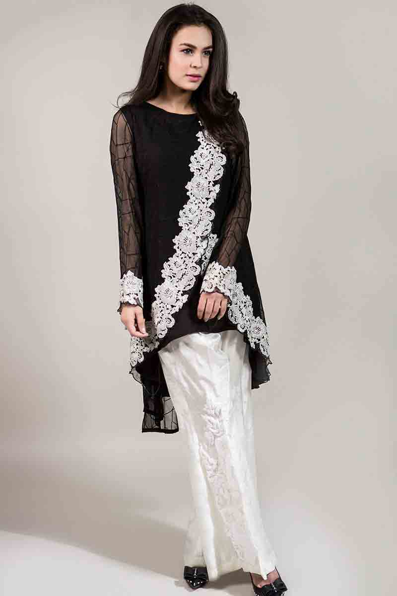 sexy black net shirt with white embroidery and white pants latest maria b fancy party wear eid dresses 2017 with price for girls