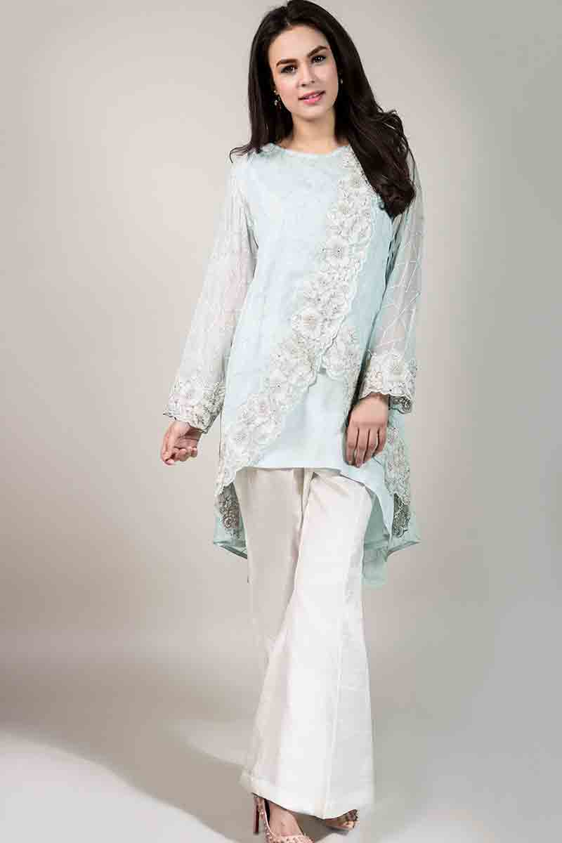 sky blue net shirt with embroidery and white pants latest maria b fancy party wear eid dresses 2017 with price for girls
