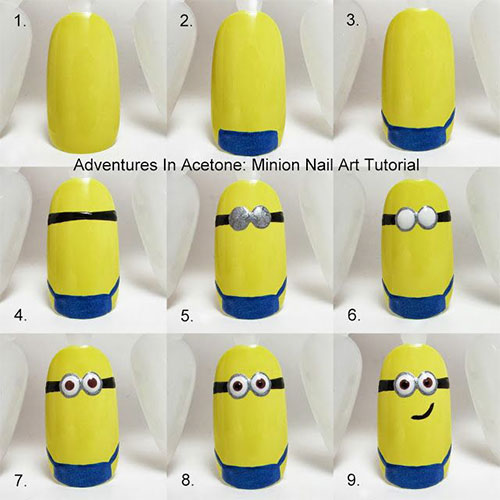 latest yellow and blue minions nail art ideas for long nails easy nail art designs 2018 step by step with pictures