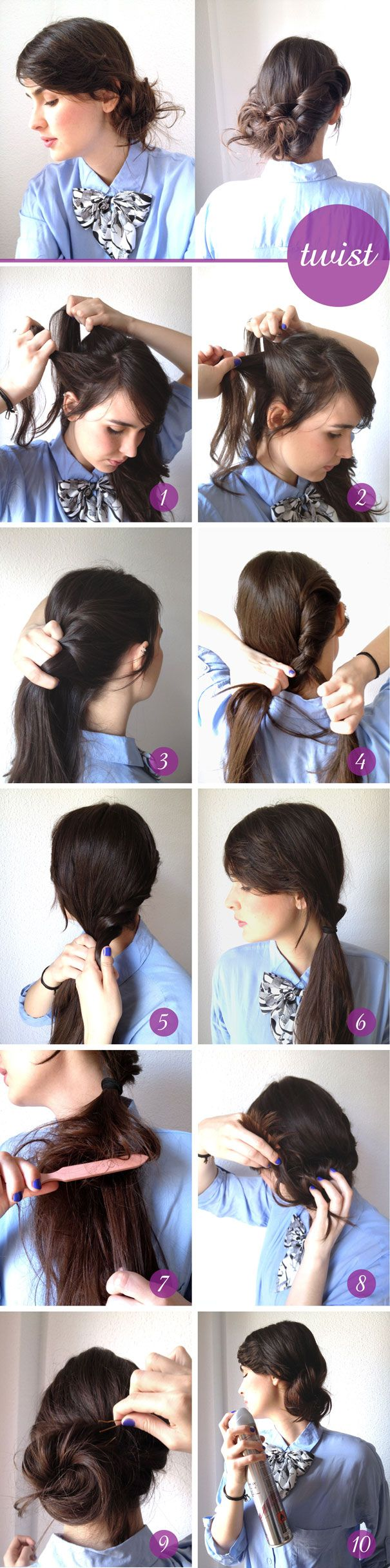 Messy side hair bun tutorial