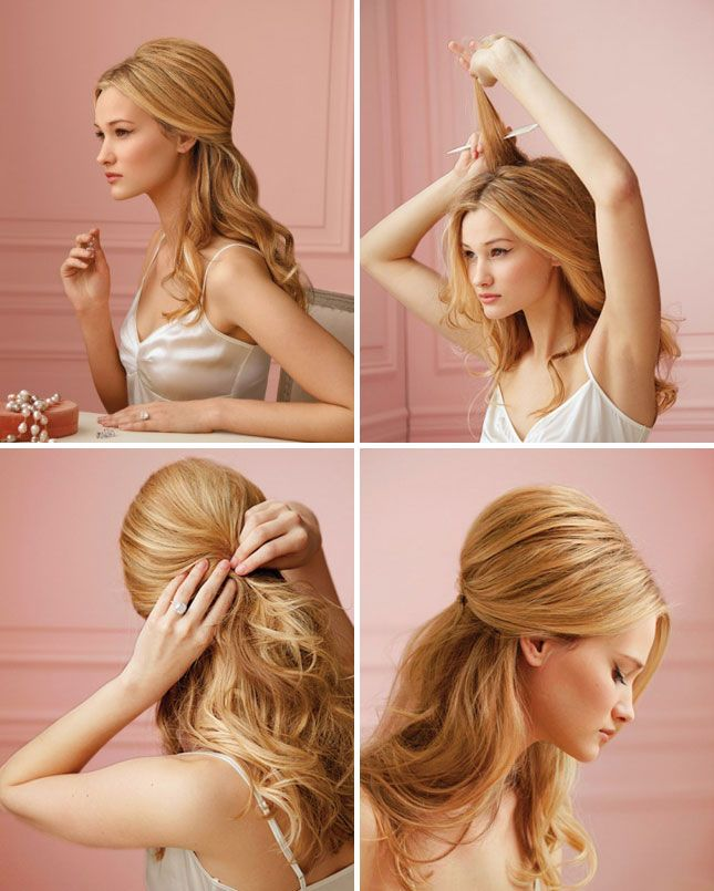 Elegant half up half down hairstyle