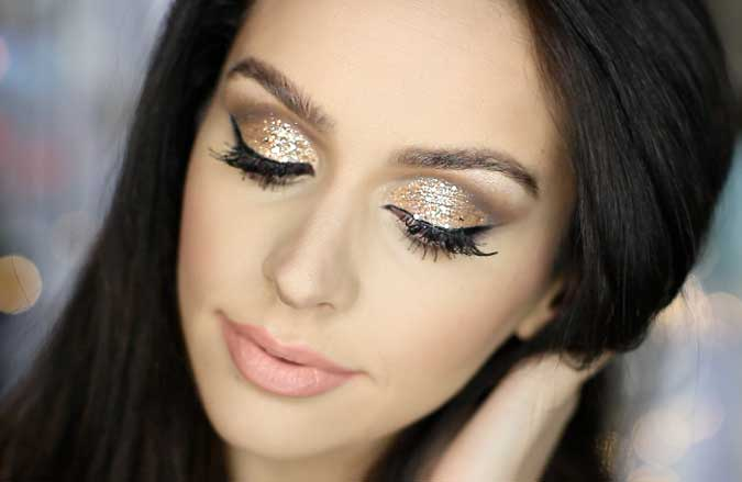 glitter eye makeup tutorial 2016 for new year's eve