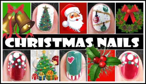latest santa, reindeer, penguin, tree, cherry easy christmas nail designs tutorial 2017