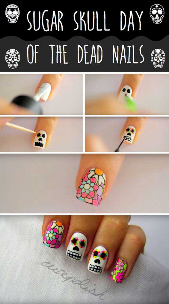 Easy halloween nail art, latest halloween nails tutorial