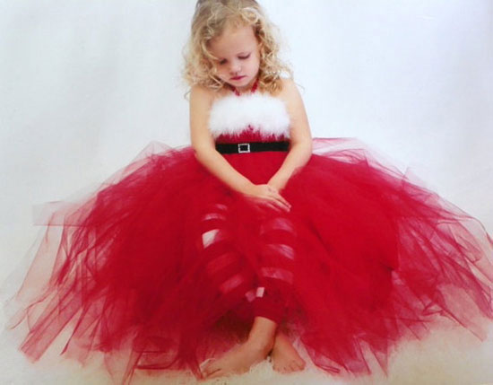 cut red christmas fancy outfits for toddler girls