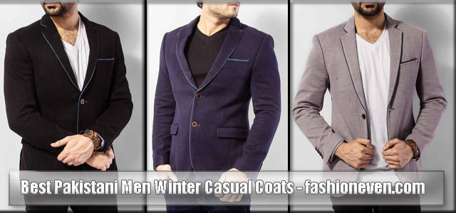 Blue black and grey winter casual coats for men in Pakistan 2018
