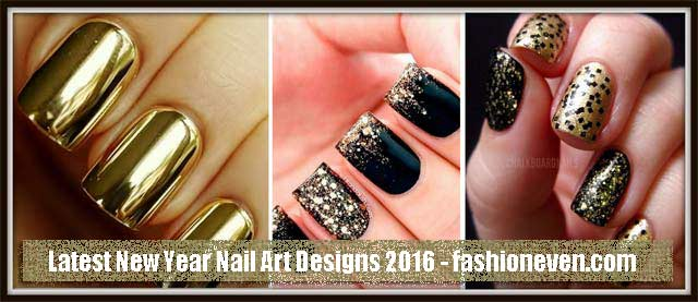 latest golden black new year nail art designs