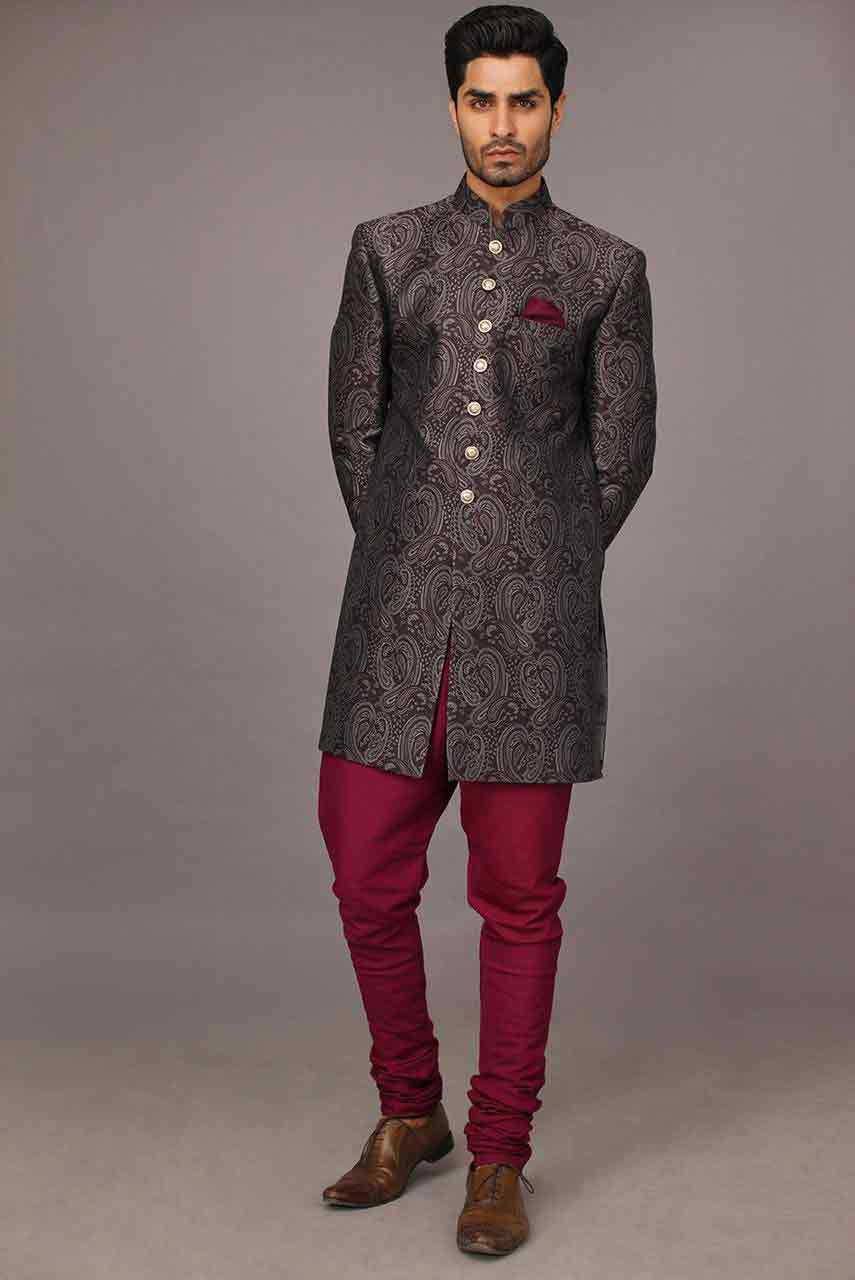 latest grey and magenta stylish pakistani groom wedding sherwani designs 2017 for mehndi