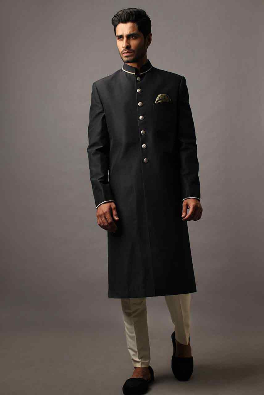 best dark grey pakistani groom wedding sherwani designs 2017 for mehndi