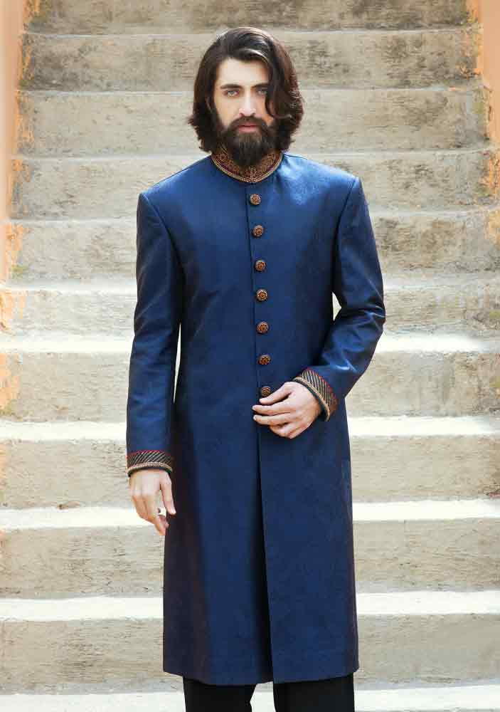 new blue pakistani groom wedding sherwani designs 2017 for mehndi