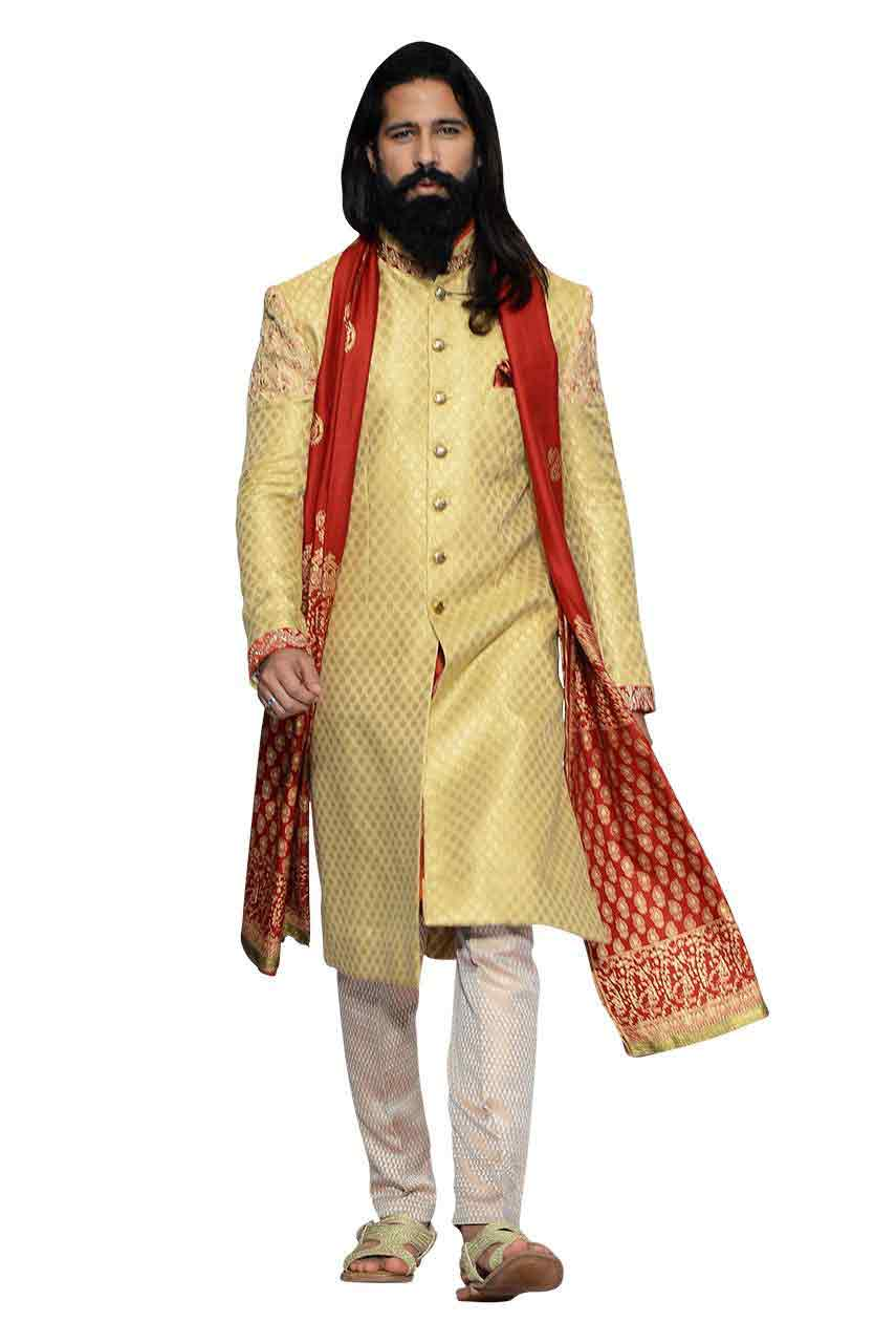new cream pakistani groom wedding sherwani designs 2018 for mehndi with red dupatta