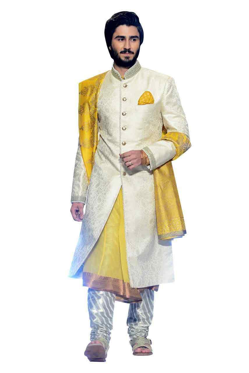 classy white and yellow pakistani groom wedding sherwani designs 2018 for mehndi with dupatta