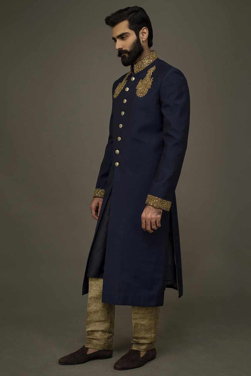 latest navy blue pakistani groom wedding sherwani designs 2017 for mehndi
