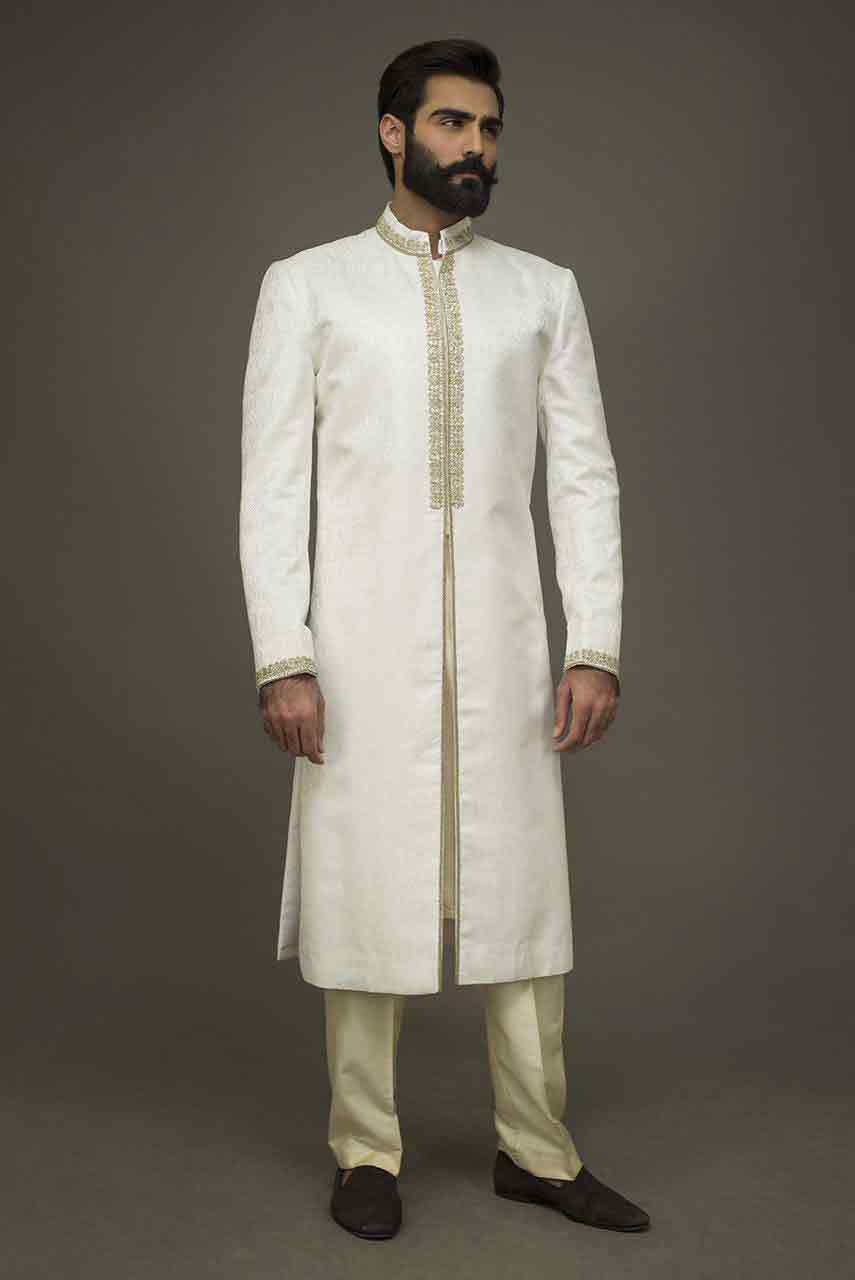 trendy white pakistani groom wedding sherwani designs 2017 for mehndi
