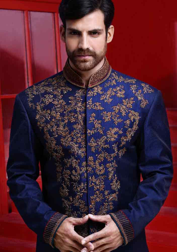 best royal blue trendy pakistani groom wedding sherwani designs 2017 for mehndi