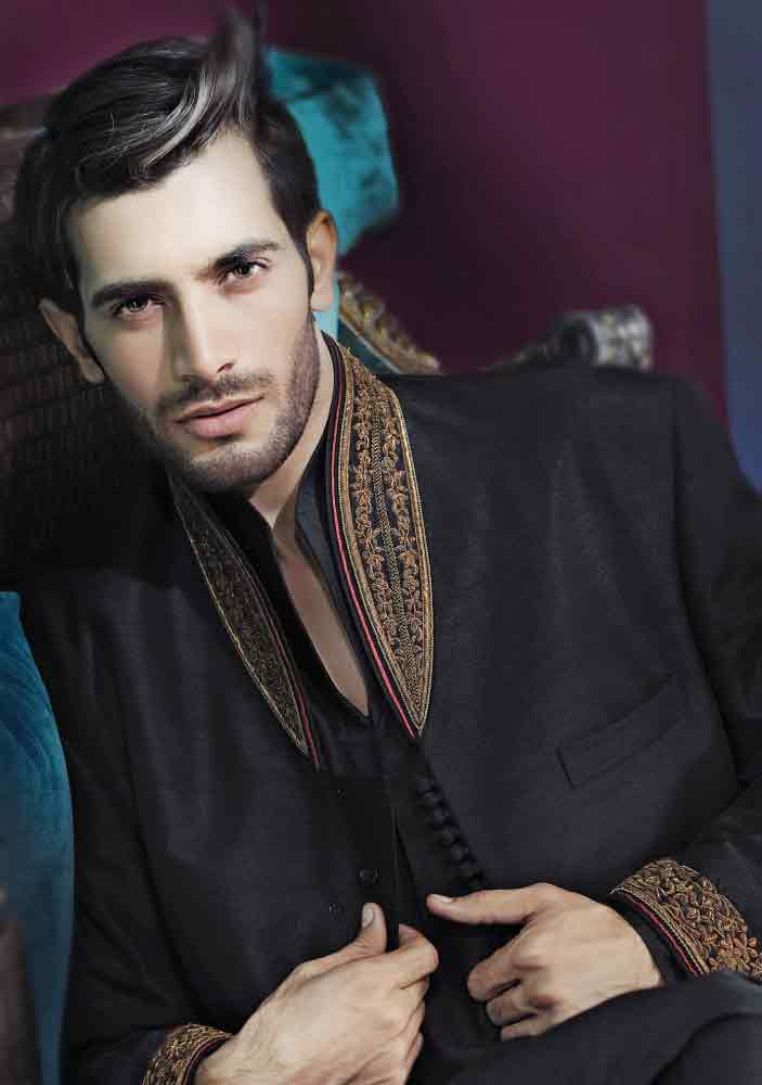 amazing black pakistani groom wedding sherwani designs 2017 for mehndi with embroidery on collar