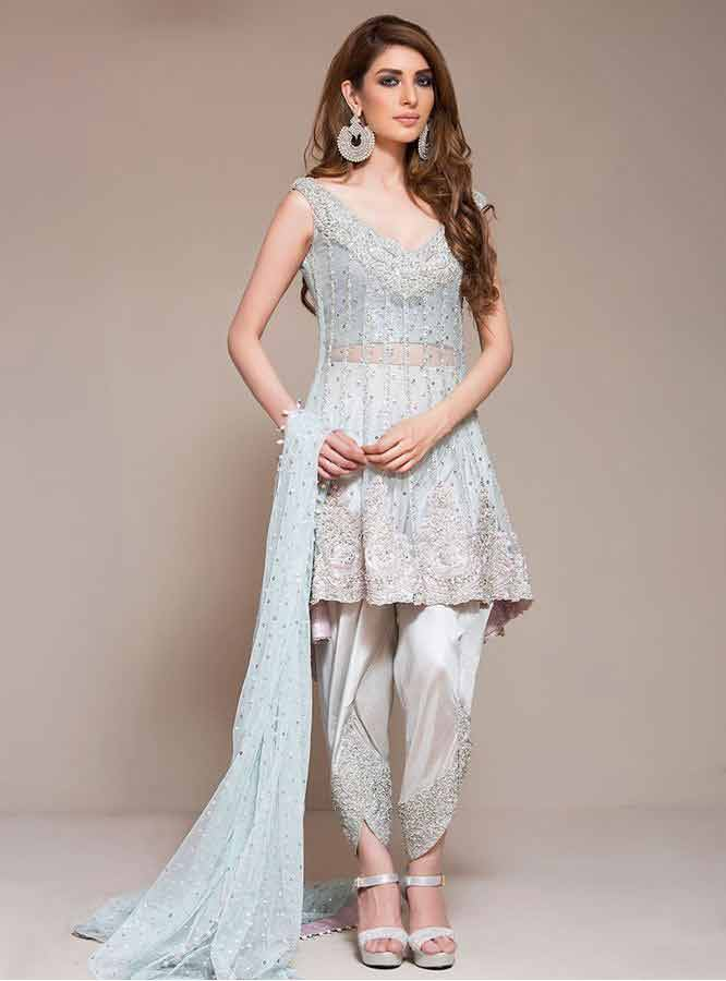 wedding party dress short frock trend 2017 in pakistan