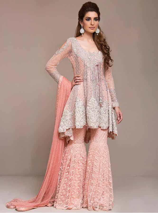 best stylish light pink and peach short frock with sharara dress for wedding barat function