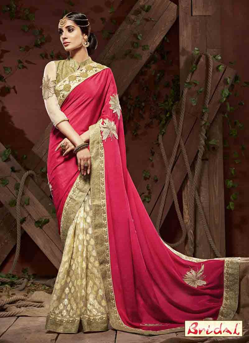 best pink and golden designer saree for wedding in 2018