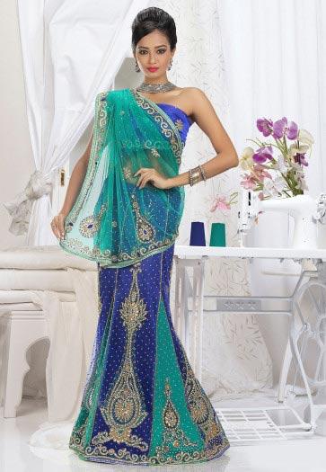 best blue and ferozi designer saree for wedding in 2018