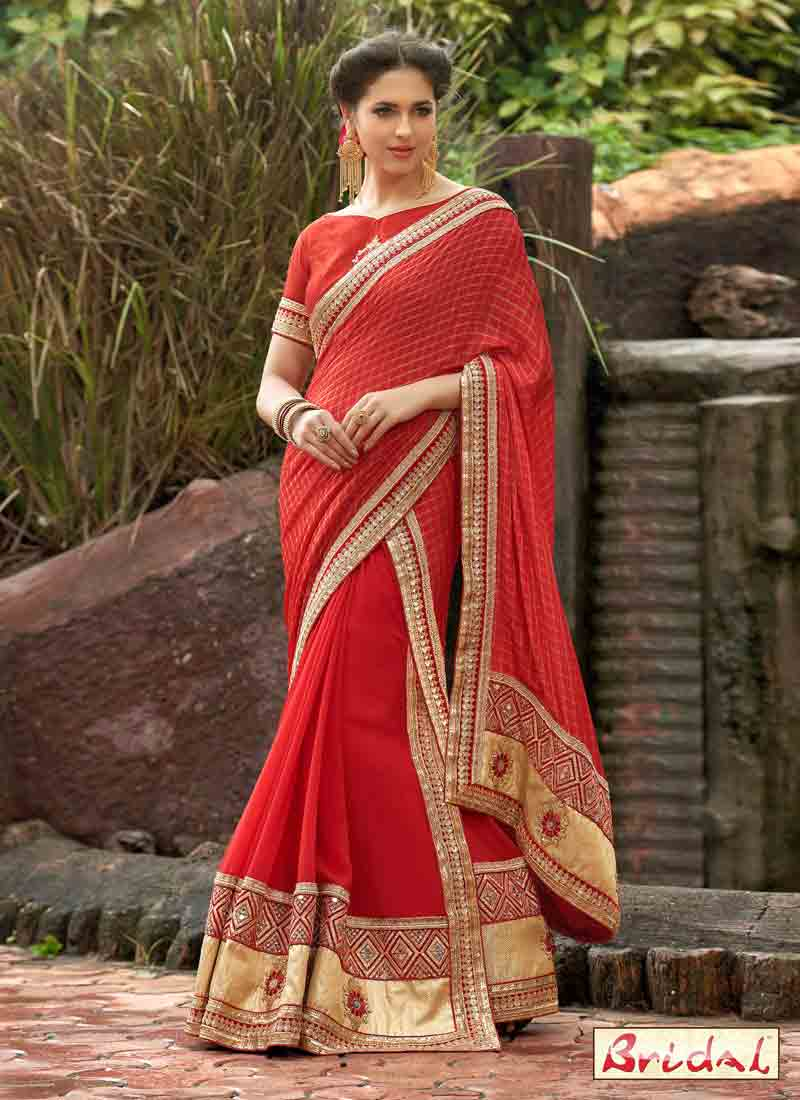 trendy Indian bridal wedding and party wear saree designs 2018