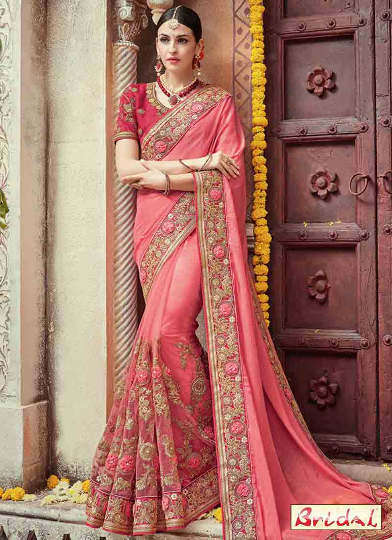 New pink embroidered designer saree for wedding in 2018