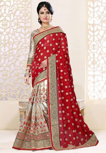 best red and silver Indian bridal designer saree for wedding in 2018