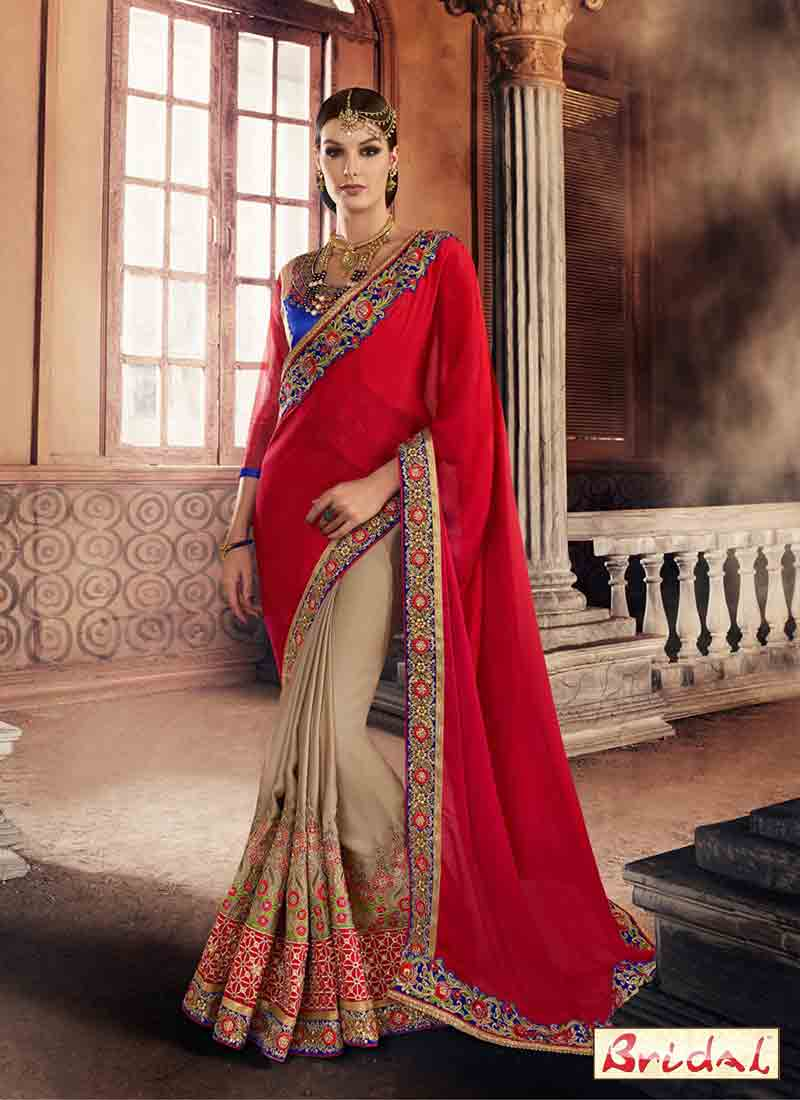 New red and skin designer saree for wedding reception in 2018