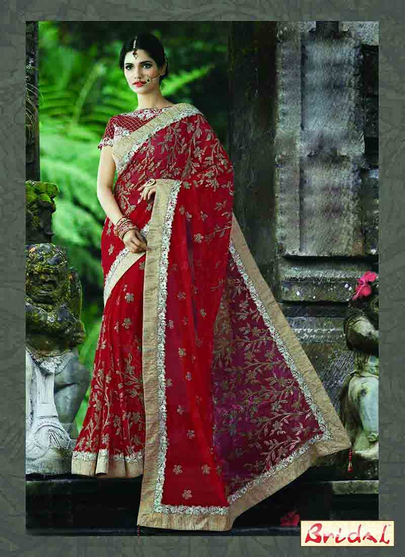 latest red net designer saree for wedding reception in 2018
