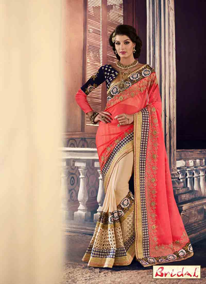 Peach pink and blue designer saree for wedding in 2018
