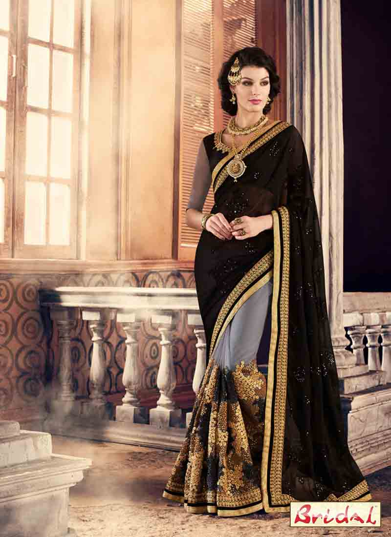 best black and golden embroidered designer saree for wedding in 2018