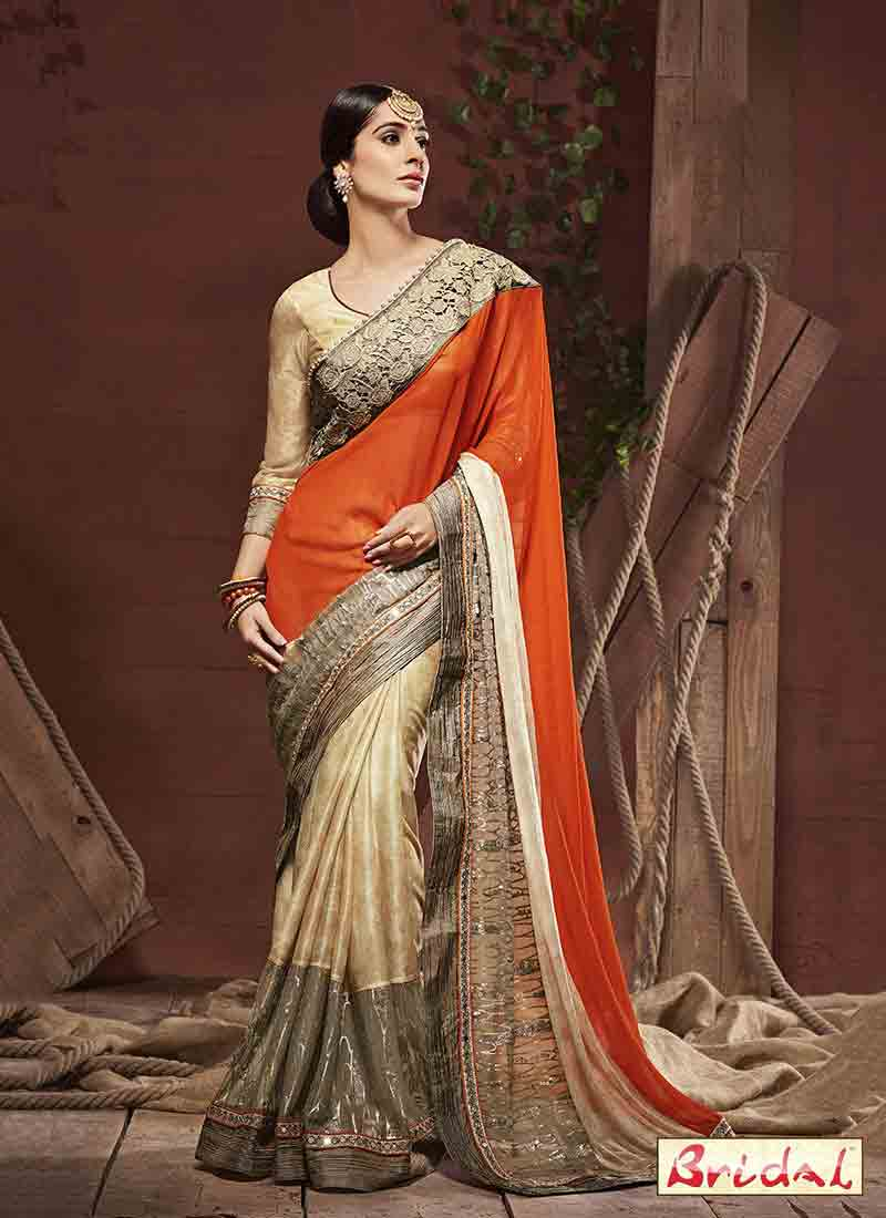 latest orange and golden designer saree for wedding in 2018