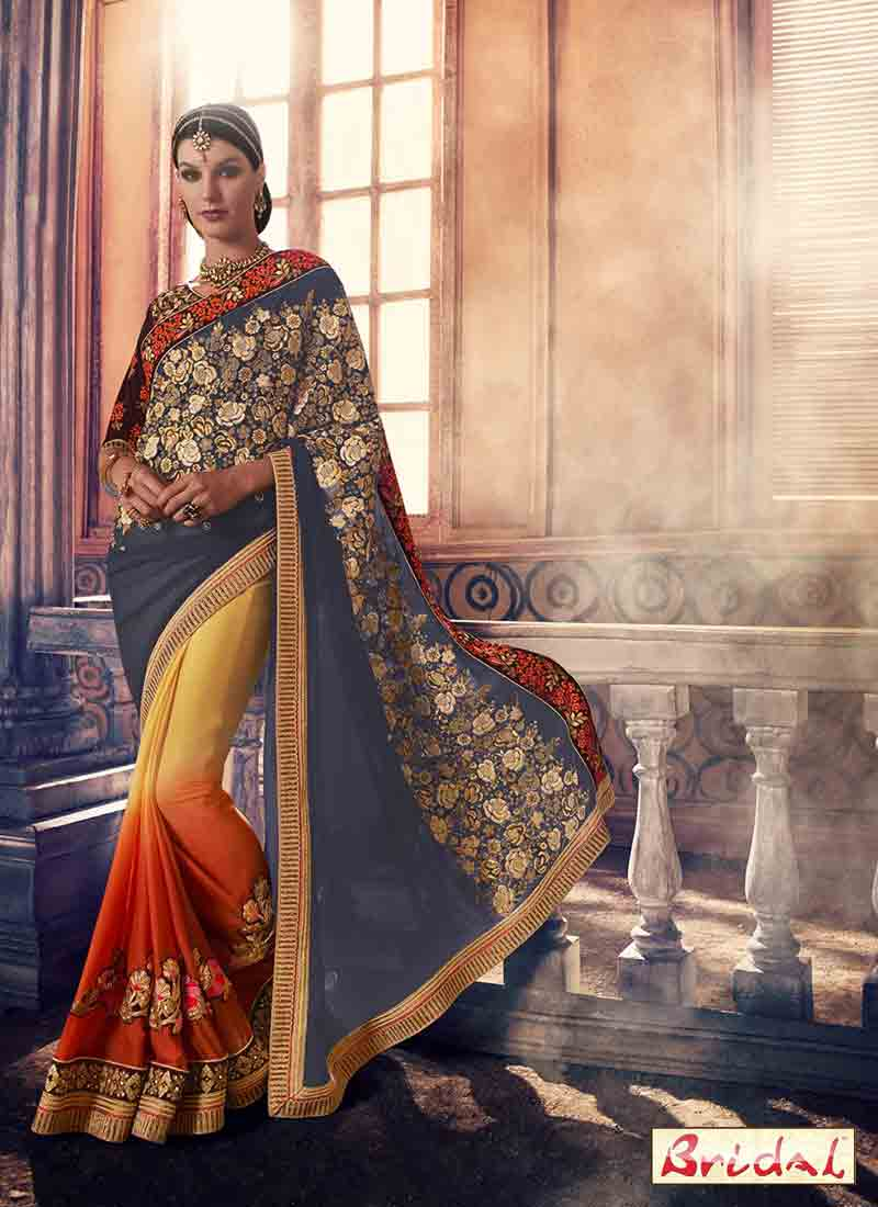 amazing blue and yellow designer saree for wedding in 2018