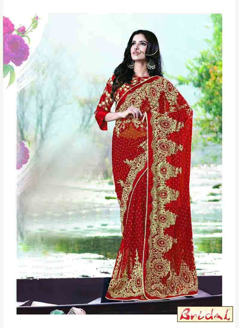 beautiful blood red and golden designer saree for wedding reception in 2018